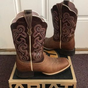 Ariat pink & brown riding / fashion cowboy boots